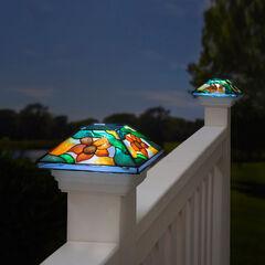 Floral Mosaic Solar Post Light Cap,