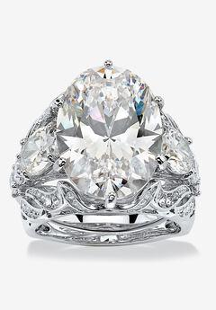 Platinum-Plated Bridal Ring Set Cubic Zirconia (15 3/4 cttw TDW),