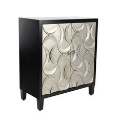 "Modern Rectangular Black Wooden Crescent Moon Cabinet, 32""H x 31""L x 16""W,"