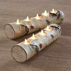 Faux Birch 4-Light Candle Holder ,