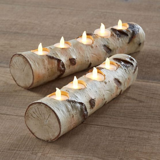 Faux Birch 5-Light Candle Holder , NATURAL