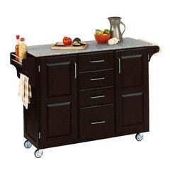 Large Black Finish Create a Cart with Salt & Pepper Granite Top,