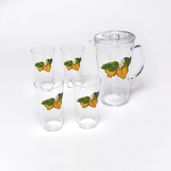 5-Pc. Lemon Drinkware Set, YELLOW