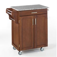 Cherry Finish Create a Cart  with Salt & Pepper Granite,
