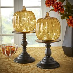 "14½"" Pre-Lit Glass Pumpkin on Metal Stand, GOLD"