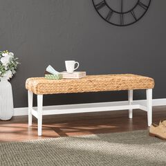 White Woven Coffee Table Bench,