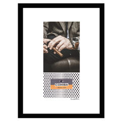 Cohiba Man With Watch - Brown / Black - 14x18 Framed Print,