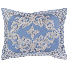 Florence Collection Tufted Chenille Standard Sham Blue by Better Trends,