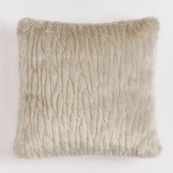 Textured Faux Fur 18' Sq. Pillow , GRAY