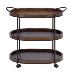 Brown Pine and Metal Traditional Bar Cart, 30x25x16,