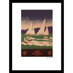 Vintage Hermes Sailboats 14x18 Framed Print, BLUE GREEN