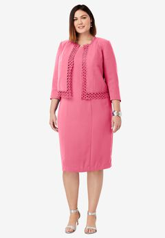 Lace Trim Jacket Dress, DAZZLING PINK