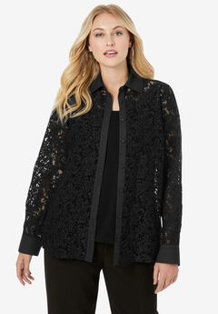Lace Button-Front Tunic, BLACK