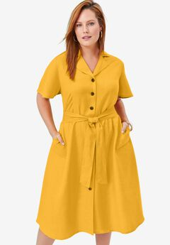 Button Down Linen Shirtdress, SUNSET YELLOW