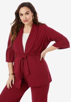 Belted Knit Crepe Jacket, RICH BURGUNDY