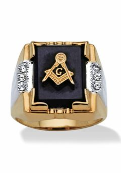 14K Gold-plated Onyx and Crystal Two Tone Masonic Ring,