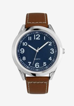 Easy-Read Watch with Faux Leather Band,