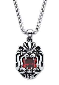 """Square-Cut Red Cubic Zirconia Tribal Lion Pendant Necklace In Antiqued Stainless Steel 24"""" Chain,"""