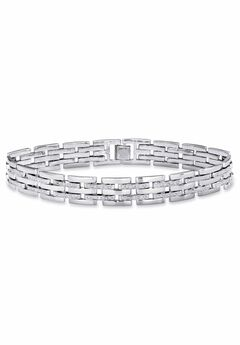 "Diamond-Accented Silver-Tone Link Bracelet 9"","