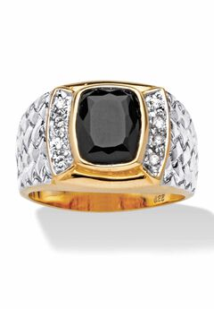 18K Gold Over Sterling Silver Cubic Zirconia and Onyx Ring,