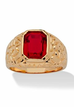 Yellow Gold Plated Simulated Red Ruby Nugget Style Ring,
