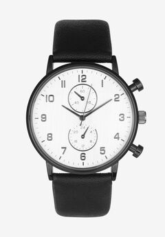 Gunmetal Watch with Faux Leather Strap,