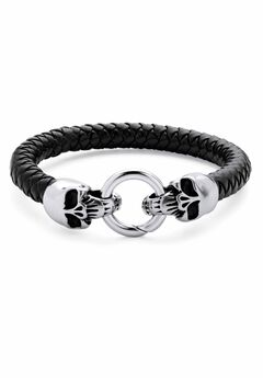 """Stainless Steel Double Skull Bangle Bracelet 9"""","""