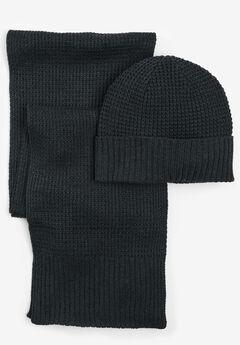 Waffle Knit Hat & Scarf Set,
