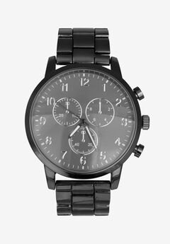 Gunmetal Chronograph Watch with Link Strap,
