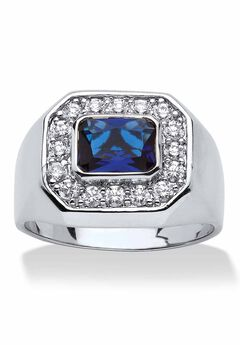 Silver Tone Blue Glass and Cubic Zirconia Ring,
