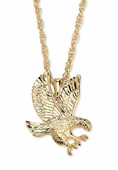 "Gold Tone Eagle Charm Pendant with 24"" Chain,"