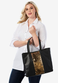 3-Piece Sequin Tote Set, BLACK SEQUIN
