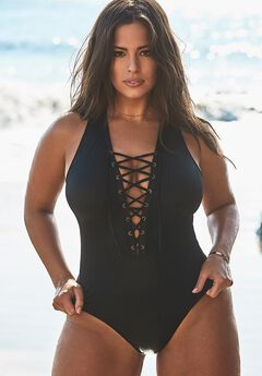 Ashley Graham CEO Lace Up One Piece Swimsuit,