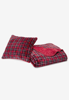 Plaid Fleece Pillow & Throw Set,