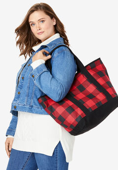 Plaid Canvas Tote, VIVID RED BUFFALO PLAID