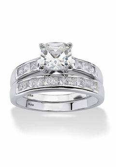 Platinum over Silver Princess Cut Cubic Zirconia Bridal Ring Set,
