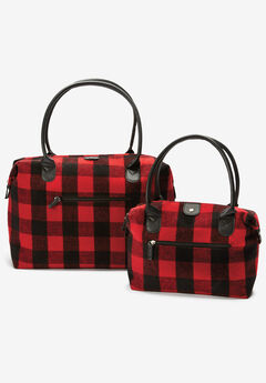 2-Piece Plaid Flannel Tote Set, CLASSIC RED BLACK BUFFALO PLAID