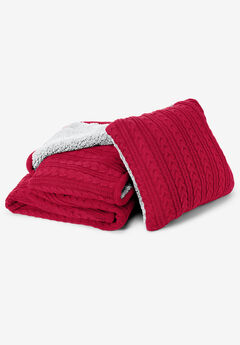 2-Piece Cable Throw & Pillow Set, CLASSIC RED