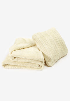 2-Piece Cable Throw & Pillow Set,