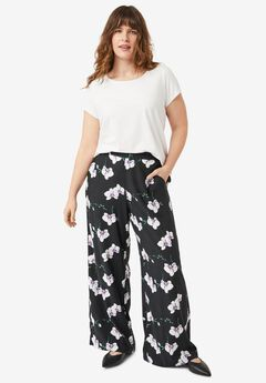 Wide-Leg Soft Pants with Back Elastic by ellos®,