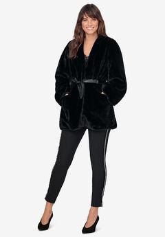 Tie-Front Faux-Fur Coat,