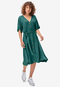 Button-Front Tie-Waist Shirtdress, EMERALD GREEN