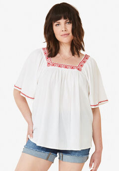 Embroidered Gauze Blouse by ellos®,
