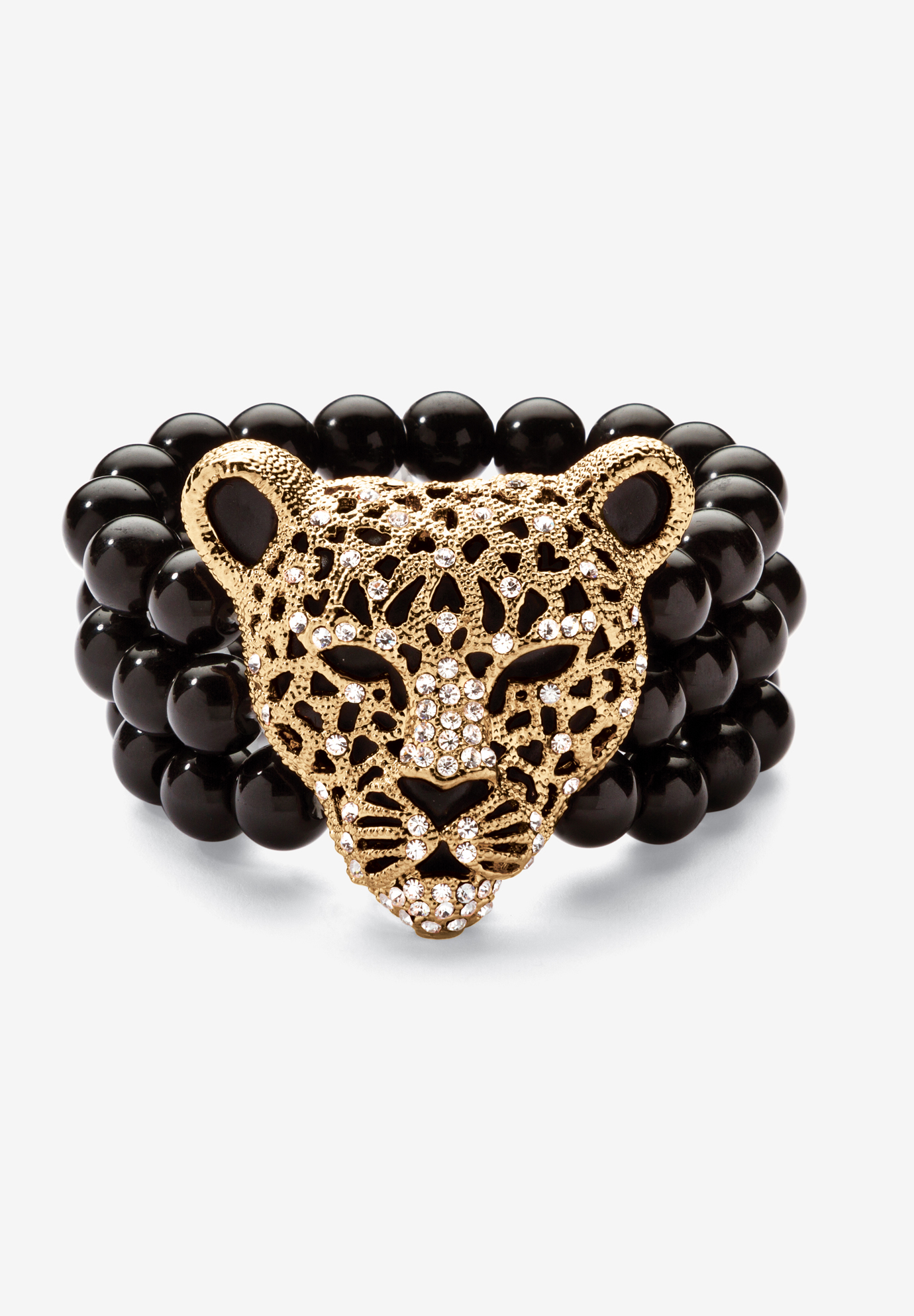 "Goldtone Onyx Leopard Stretch Bracelet (42mm), Round Crystal, 8.5"", GOLD"