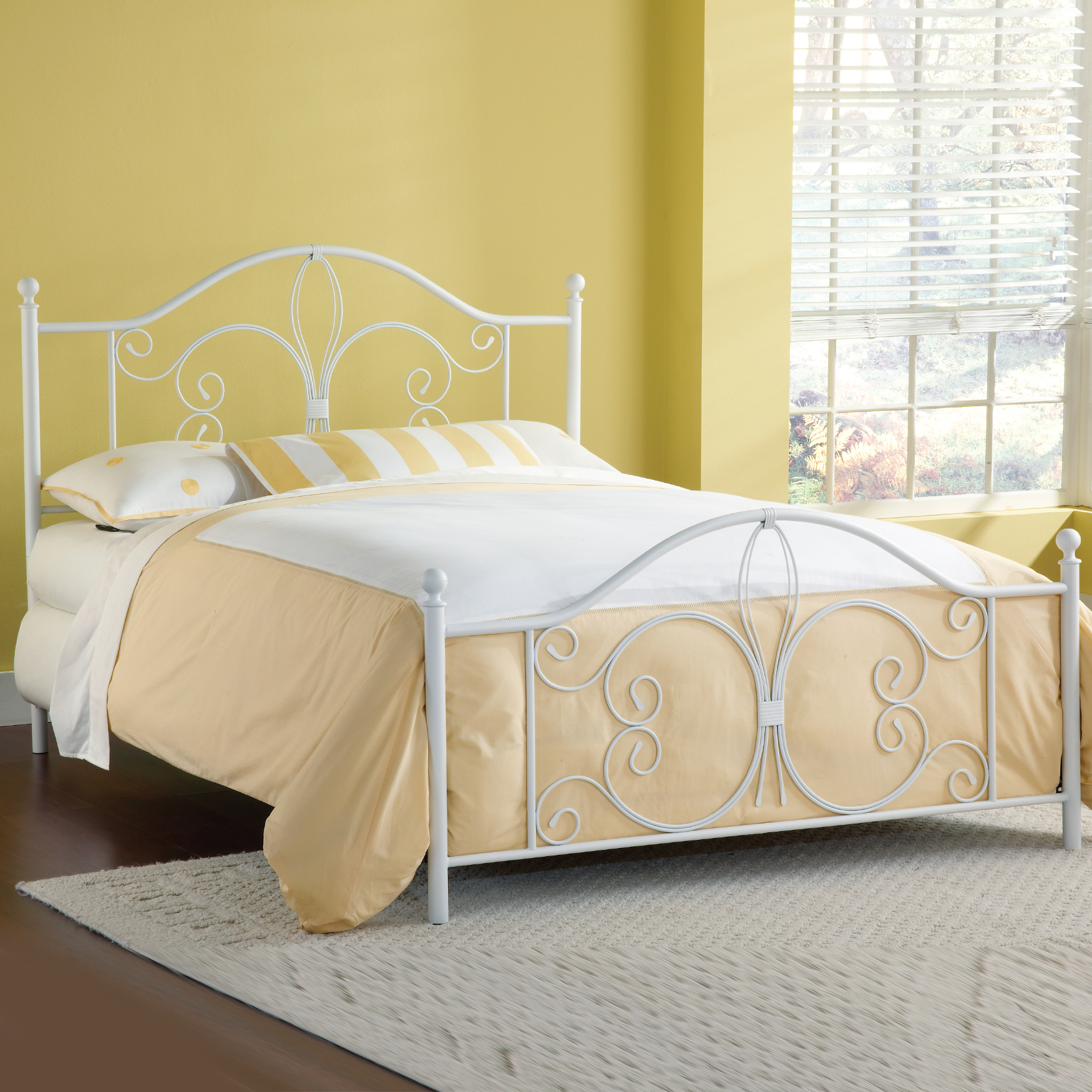 Ruby Bed Set with Rails - King, WHITE
