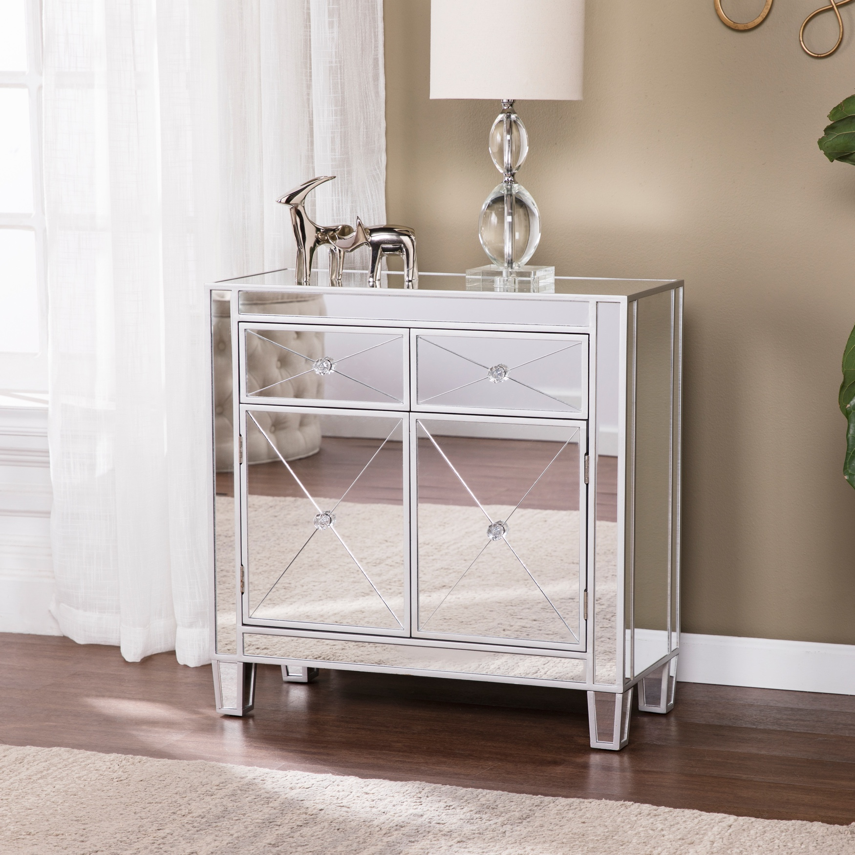Mirage Mirrored Cabinet, SILVER