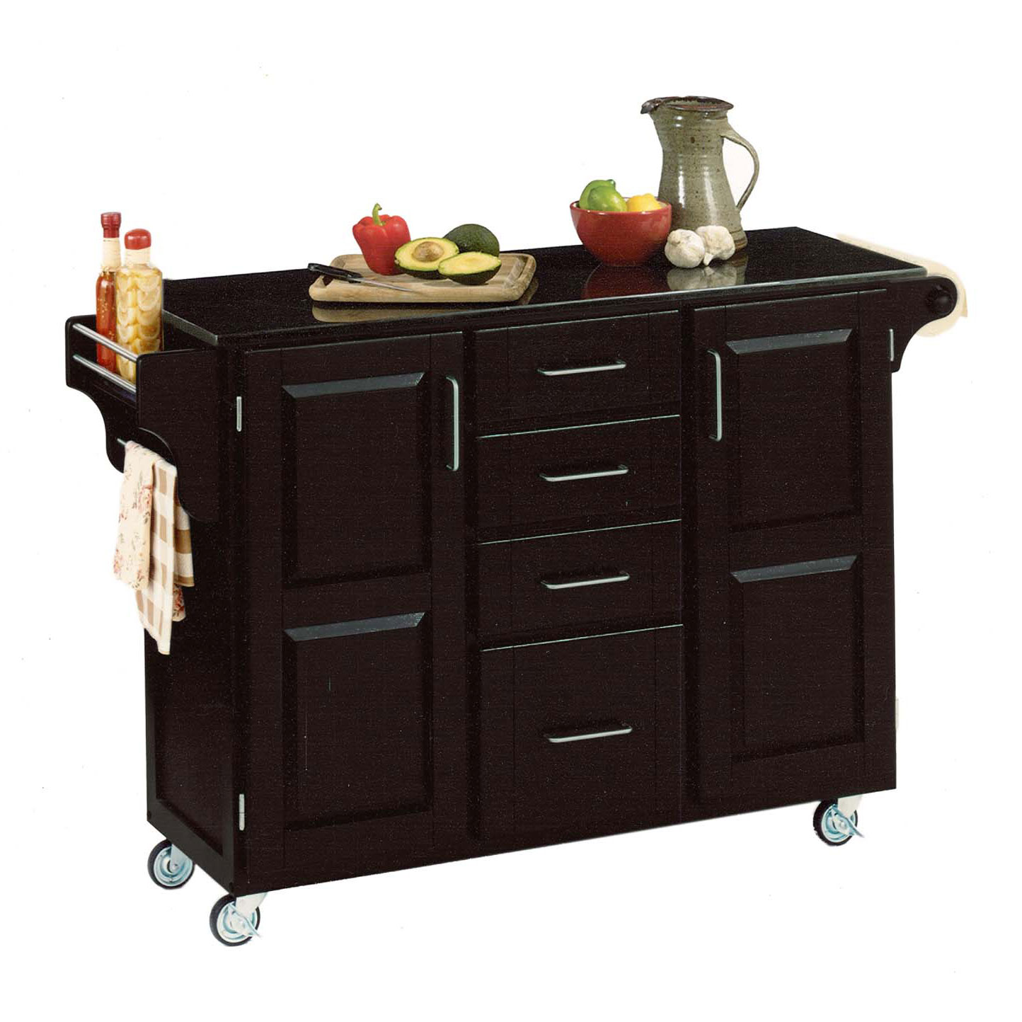 Large Black Finish Create a Cart with Black Granite Top, BLACK BLACK