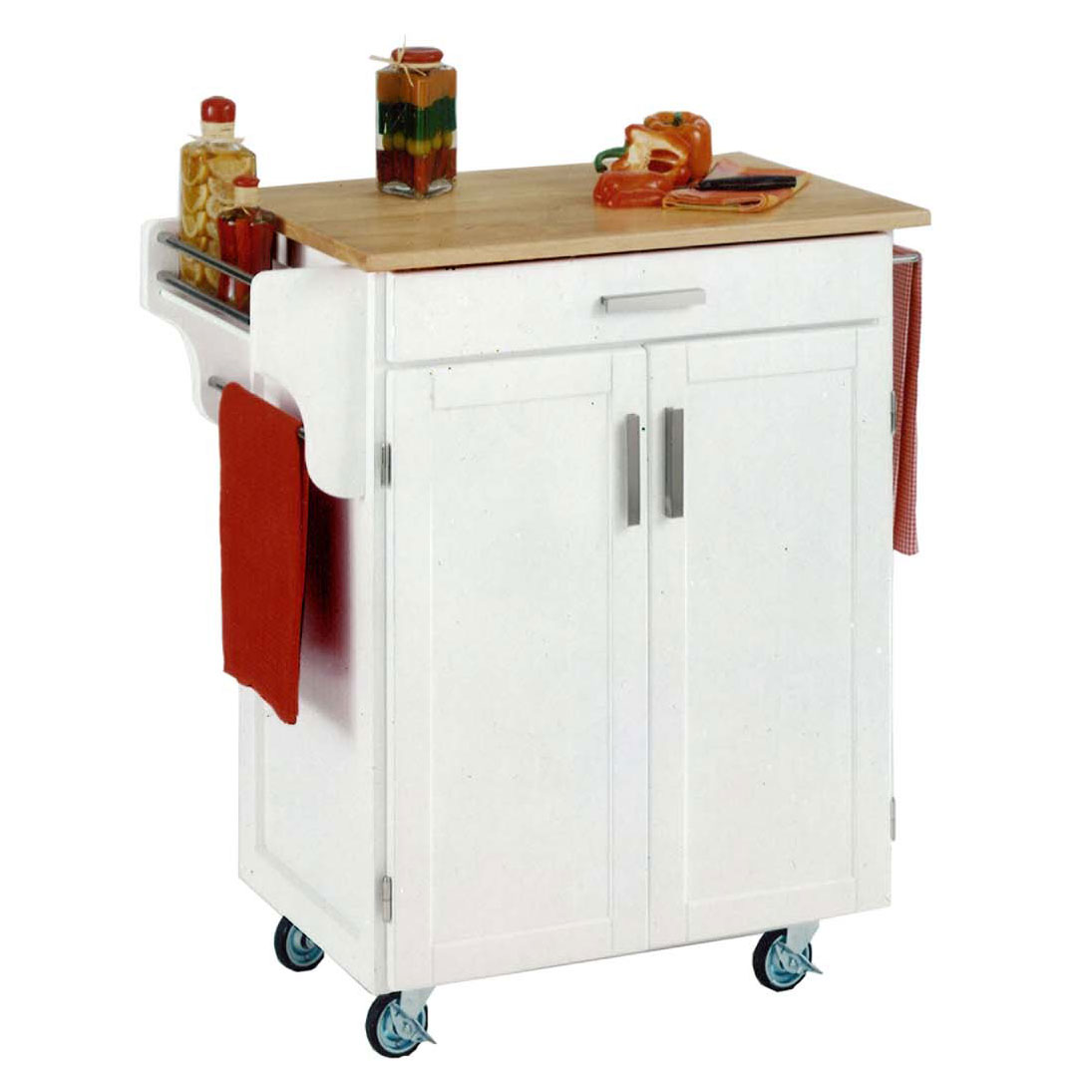 White/Natural Cuisine Kitchen Cart with Wood Top, WHITE WOOD