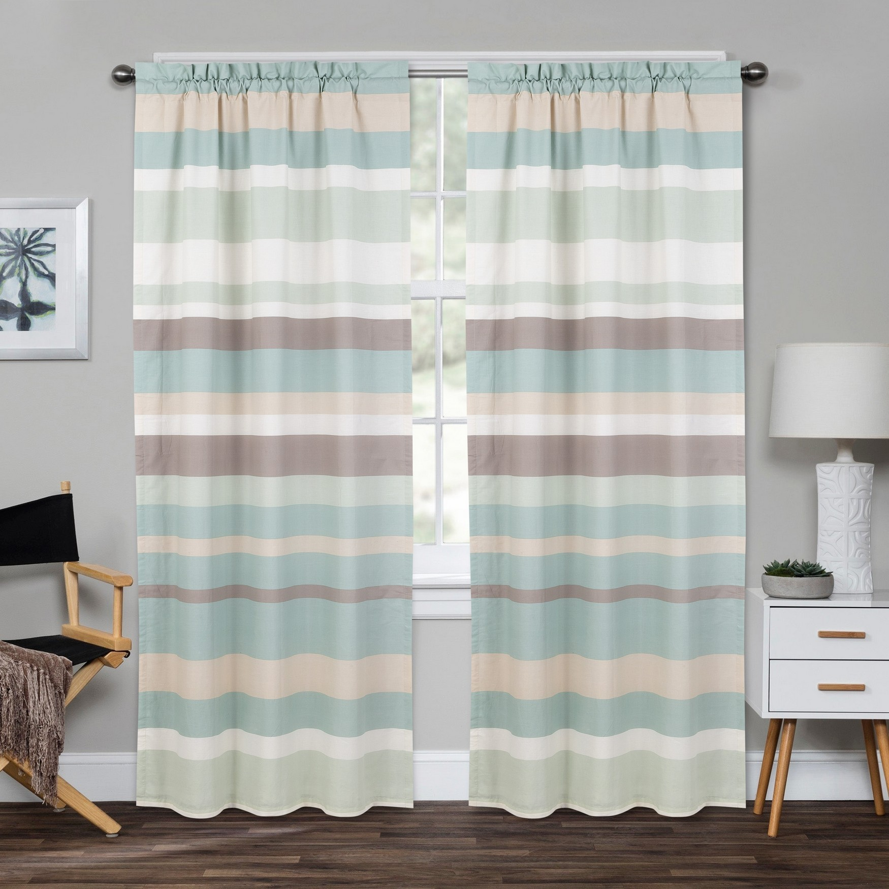Coastal Stripe Window Panel Pair, BLUE GREEN BROWN