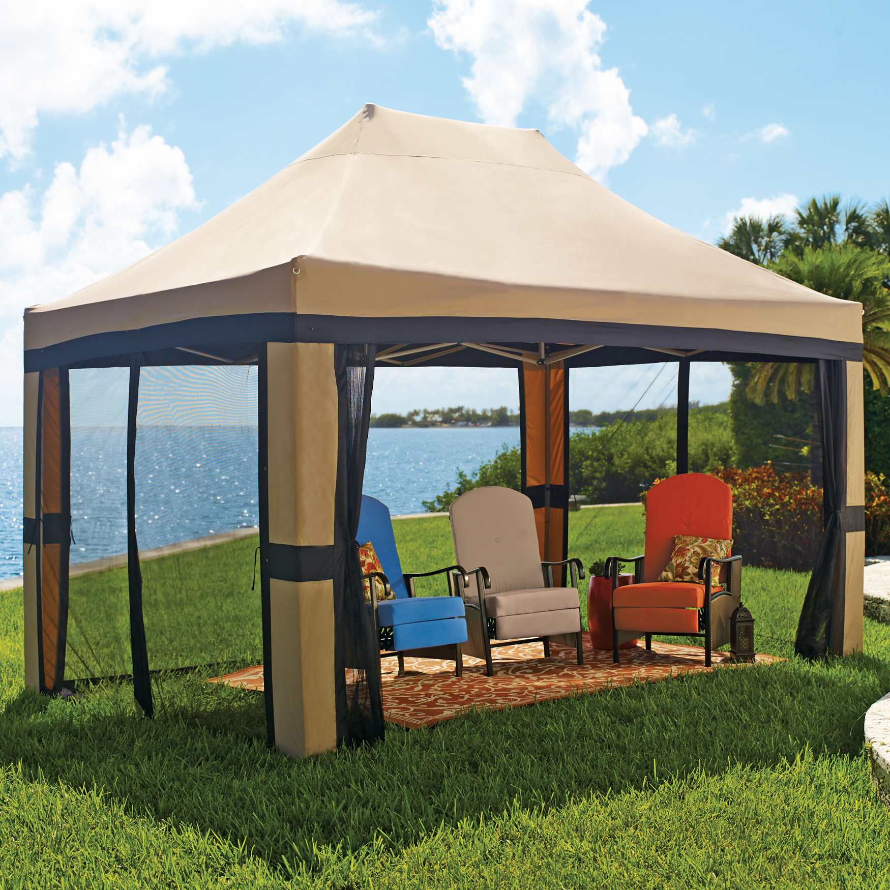 Oversized 10' x 15' Instant Pop Up Gazebo With Screen, TAUPE